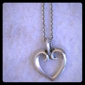 James Avery Retired Heart Pendant with Necklace